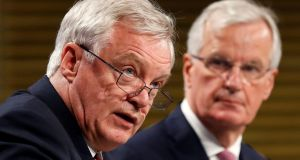 Britain's Secretary of State for Exiting the European Union David Davis and European Union's chief Brexit negotiator Michel Barnier. Photograph: Francois Lenoir/Reuters
