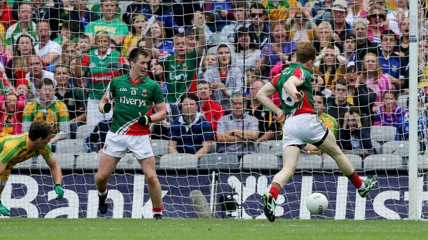 Donal Vaughan scores the goal against Donegal that turned a contest into a rout. Photograph: Morgan Treacy/Inpho