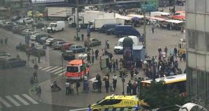 A view of the market square in Turku after a stabbing attack. Photograph: Facebook via AP