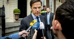 Dutch prime minister Mark Rutte is facing possibility of having to go it alone with a minority budget next month. Photograph: Remko De Waal/EPA