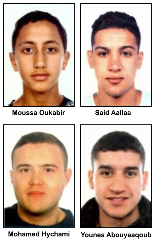 (L-R, up down) Moussa Oukabir, the suspected driver, as well as Said Aallaa, Mohamed Hychami and Younes Abauyaaqoub, who are suspects wanted in connection with the terrorist attacks in the Catalonian cities of Barcelona and Cambrils. Photograph: EPA/Spanish police