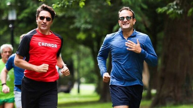 """After today's Dail business joined @JustinTrudeau for quick jog through #PhoenixPark. Now off to Dublin Castle for evening business Leo Varadkar Twitter shots Harry Mc Gee"""