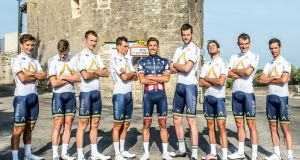 The Aqua Blue Sport Vuelta a España selection in Nîmes, France, prior to Saturday's start of the race. Conor Dunne (fourth from right) will become the 15th  Irish rider in a Grand Tour. Photograph:  Karen Edward