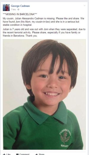 MISSING: Picture posted on Facebook of Julian Alessandro Cadman (7) which his family has asked people to like and share, and who is missing in the aftermath of Thursday's terror attack in Barcelona. Photograph: Facebook/PA Wire.