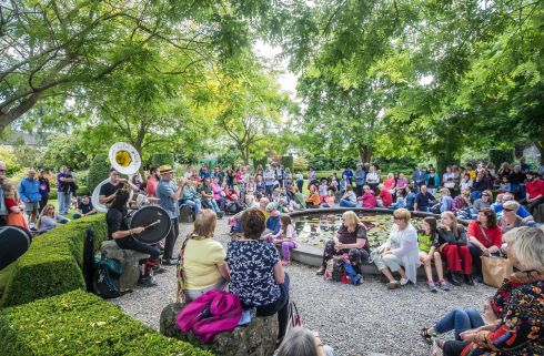 KILKENNY ARTS FESTIVAL: The Lemon Bucket Orkestra playing in the Secret Garden at Butler House and Gardens. Secret Garden Music is one of Kilkenny Arts Festival's most popular series. Photograph: Pat Moore
