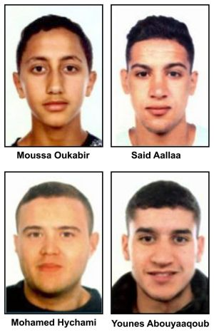 WANTED: A handout composite photo made available by the Spanish police shows (L-R, up down) Moussa Oukabir, the suspected driver, as well as Said Aallaa, Mohamed Hychami and Younes Abauyaaqoub, who are suspects wanted in connection with the terrorist attacks in the Catalonian cities of Barcelona and Cambrils. Photograph: Spanish Police/EPA