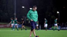 Ireland head coach Tom Tierney dejected after the defaet top France. Photograph: Dan Sheridan/Inpho