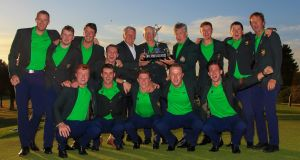 Ireland's players and officials celebrate their fourth straight win in the men's home internationals at Moortown Golf Club  in Leeds. Photograph:   Thos Caffrey/Golffile