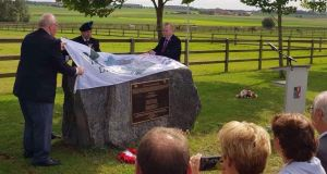 A memorial to Irish soldiers who died during the Battle of Passchendaele being unveiled near the village of Zonnebeke outside Ypres in Belgium. Photograph: Daphne Vangheluwe