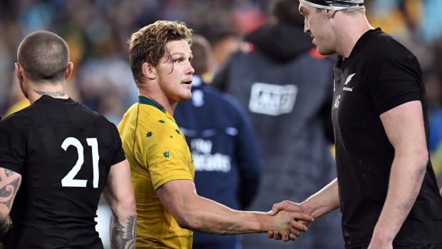 Australia captain Michael Hooper shakes hands with New Zealand's Brodie Retallick after his side's Rugby Championship tdefeat. Photograph: William West/AFP
