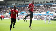 Anthony Martial scored Manchester United's fourth against Swansea City. Photograph: Nick Potts/PA