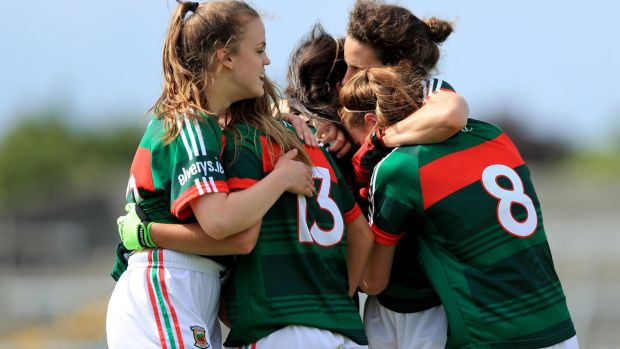 Mayo player's celebrate at the end of the game. Photograph: Donall Farmer/Inpho