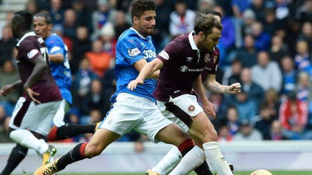 Rangers Fabio Cardoso tackles Hearts Connor Randall. Photograph: Ian Rutherford/PA Wire.