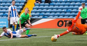 Celtic's Calvin Miller goes close at Kilmarnock.  Photograph:  Jeff Holmes/PA Wire.
