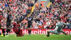 Sadio Mane scores Liverpool's winner against Crystal Palace. Photograph: peter Powell/EPA
