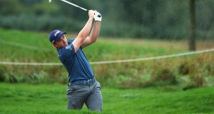 Paul Dunne of Ireland plays his second shot on the 3rd during day three of the Saltire Energy Paul Lawrie Match Play. Photograph: Matthew Lewis/Getty Images