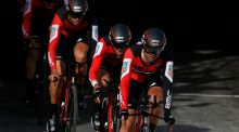 BMC Racing Team's riders, including Ireland's Nicolas Roche, in action during the first stage of the Vuelta. Photograph: EPA