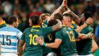 South African celebrate Siya Kolisi's try during the match in Port Elizabeth. Photograph: EPA