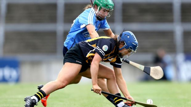 Dublin's Emma Flanagan and Meighan Farrell of Kilkenny. Photograph: Bryan Keane/Inpho