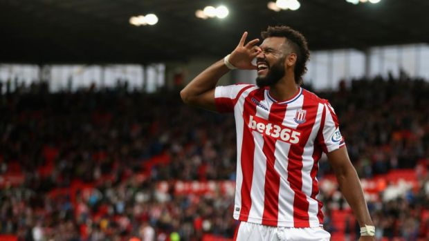 Maxim Choupo-Moting of Stoke City celebrates victory. Photograph: David Rogers/Getty Images