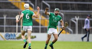 Limerick's Kyle Hayes and Andrew La Touche Cosgrove celebrate a score. Photograph: Ryan Byrne/Inpho