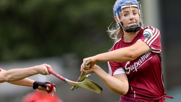 Galway's Maria Cooney is hooked by Cork's Orla Cotter. Photograph: Oisin Keniry/Inpho