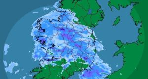 A rainfall radar image from Met Éireann at 1pm on Sunday showing rain clouds sweeping across the country.  Photograph: Met Éireann