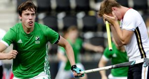 Ireland's  Seán Murray celebrates his goal against Germany during the Men's EuroHockey Championships  in Amsterdam. Photograph: Sander Koning/EPA