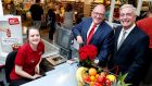 SuperValu has added Eir to its Real Rewards loyalty programme. At the announcement were SuperValu managing director Martin Kelleher, Eir chief executive Richard Moat and Toni Mack, a Supervalu Killester employee.  Photograph: maxwellphotography.ie