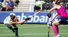 Ireland's Róisín Upton  in action against   Scotland's Alison Howie during the Women's Hockey Rabo EuroHockey Championships  in Amstelveen, Netherlands. Photograph: Robin van Lonkhuijsen/AFP/Getty Images