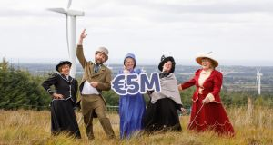 Members of the Windmill Players Drama Group from Templeboy, Co Sligo,  celebrate the launch of a new report, which shows that SSE Airtricity has awarded more than €5 million to community groups local to its wind farms. Photograph: Steve Rogers Photography