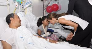 Queen Letizia of Spain speaks to Nailah Potot  in hospital in Barcelona. Photograph: Getty