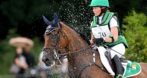 Ireland's  Sarah Ennis and  Horseware Stellor Rebound compete during the cross-country section of the FEI European Eventing Championships in Strzegom, Poland. Photograph: Janek Skarzynski/AFP/Getty Images