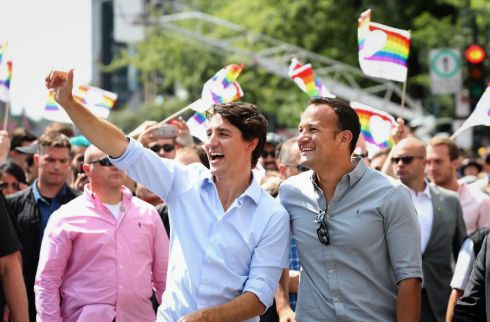 TAKE PRIDE: Taoiseach Leo Varadkar and Canadian PM Justin Trudeau take part in the Pride Parade in Montreal. Photograph: Adam Scotti/Government press office/EPA