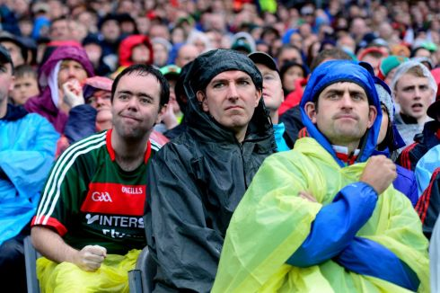 ALL-IRELAND CLASH: Fans during Mayo and Kerry's All-Ireland football semi-final at Croke Park. Photograph: Cyril Byrne/The Irish Times