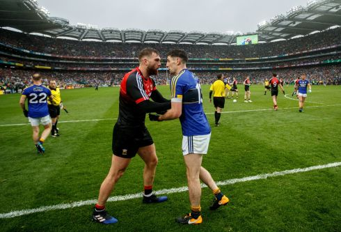 ALL-IRELAND CLASH: Mayo's Aidan O'Shea exchanges words with Paul Geaney of Kerry after their All-Ireland football semi-final at Croke Park. Photograph: INPHO/James Crombie