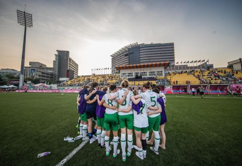 MATCH POINT: Ireland manager Colin Bell speaks to his side after their soccer game against Canada at the 2017 World University Games, in Taiwan. Photograph: INPHO/Tommy Dickson