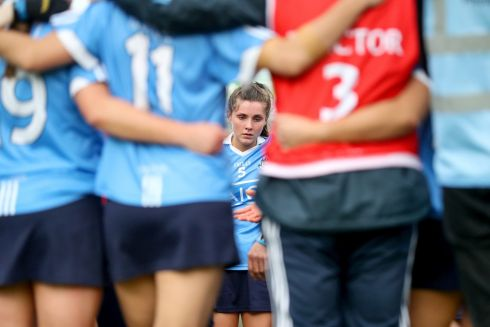 AT A LOSS: Dublin's Hannah Hegarty is dejected after they were beaten by Kilkenny in the All-Ireland camogie semi-final, at the Gaelic Grounds, Limerick. Photograph: INPHO/Oisin Keniry