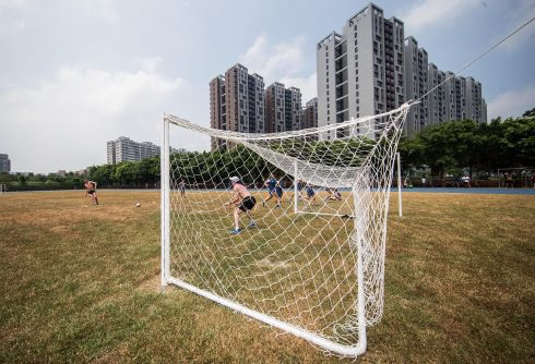 PLAY BALL: Marcus Lawler plays soccer after training with Paul Byrne, at the 2017 World University Games, in Taiwan. Photograph: INPHO/Tommy Dickson