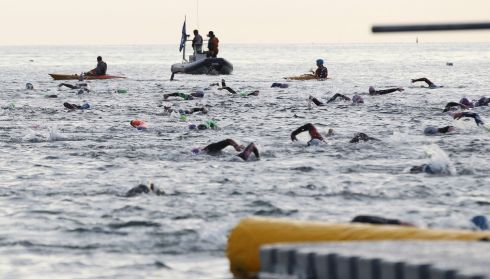 IRON MEN: IRONMAN 70.3 Dublin competitors swim in Sandycove. Photograph: Stephen Collins/Collins Photos