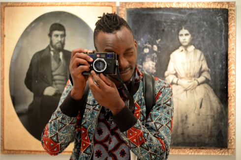 ON CAMERA: Kim Sola at the Gallery of Photography in Dublin for the 'Archives in the Attic' workshop and exhibition event. Photograph: Cyril Byrne/The Irish Times