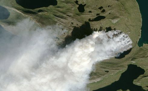 GREENLAND FIRE: A wildfire burns in western Greenland. Photograph: Nasa Earth Observatory/EPA