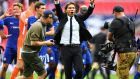 Antonio Conte celebrates victory after the Premier League match between Tottenham Hotspur and Chelsea at Wembley Stadium yesterday. Photograph:  Justin Setterfield/Getty Images