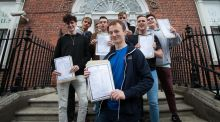 Students from CUS in Dublin's city centre celebrate their Leaving Cert results. Photograph: Gareth Chaney Collins