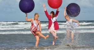 Roses pictured on Banna Beach in Co Kerry during the festival:  Leitrim Erin Moran, Boston & New England Rose Orlaith Roche and Newfoundland & Labrador Rose Katie Hanlon Wadman. Photograph: Domnick Walsh/Eye Focus Ltd