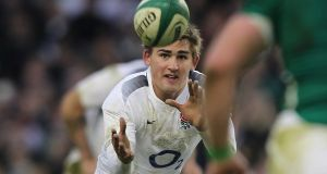 Toby Flood in action against Ireland in 2011. Photograph: Billy Stickland