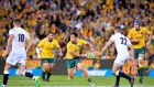 Christian Leali'ifano playing for the Wallabies against England in 2016. Photograph: Getty Images