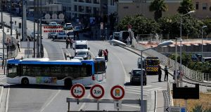 French police secure the area in the French port city of Marseille, France after one person was killed and another injured when  a car crashed into two bus shelters, a French police source told Reuters on Monday. Photograph: Philippe Laurenson/Reuters