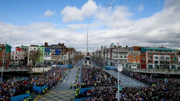 The Easter Sunday Commemoration Ceremony and parade on March 27th, 2016, in Dublin. Photograph: Maxwells/Irish Government – Pool/Getty Images
