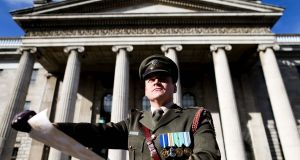 Capt Peter Kelleher reading the Proclamation at the GPO, Dublin, last year. Photograph: Maxwells
